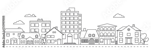 Small Town neighborhood line icon style vector illustration Fotobehang