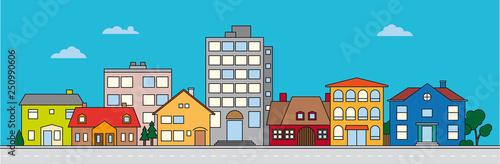 Cuadros en Lienzo Small Town neighborhood colorful vector illustration