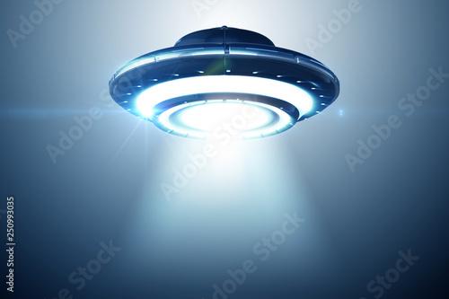 Photo  Illustration of flying saucer emitting light - 3d rendering