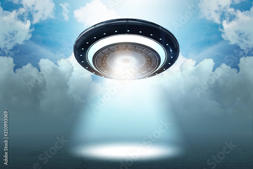 Türaufkleber UFO Illustration of flying saucer emitting light - 3d rendering