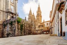 Santiago De Compostela, Cathedral At Sunrise. Galicia, Spain