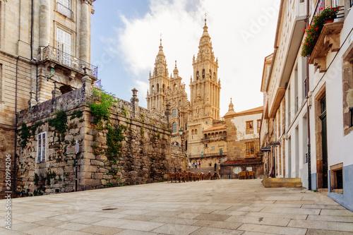 Foto Santiago de Compostela, Cathedral at sunrise. Galicia, Spain