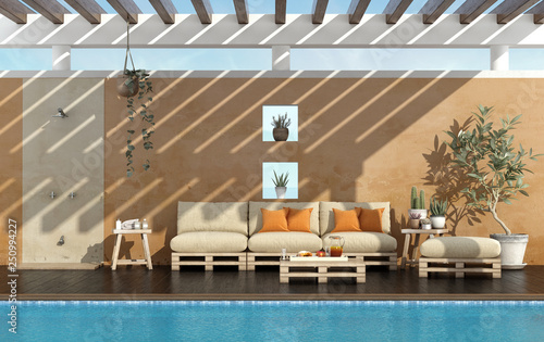Stickers pour porte Pierre, Sable Garden of a summer house with pool