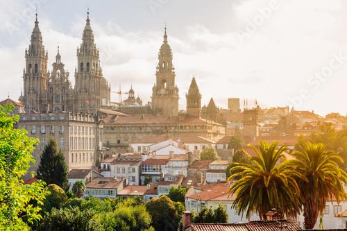 Leinwand Poster Santiago de Compostela, Cathedral at sunrise. Galicia, Spain