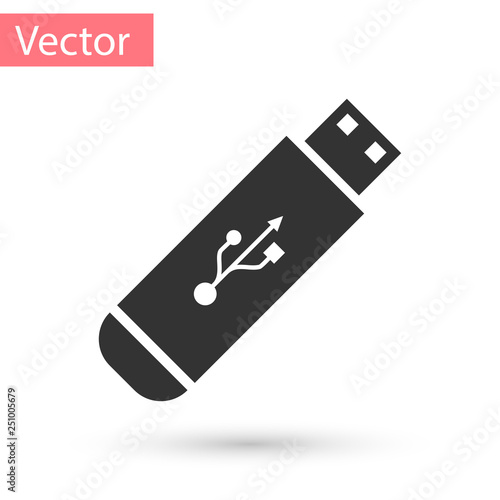 Fototapeta Grey USB flash drive icon isolated on white background