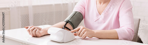 Senior woman measuring her blood pressure at home. Fototapete