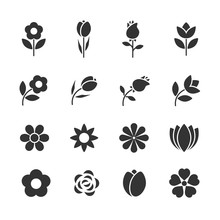 Vector Set Of Flowers Icons.