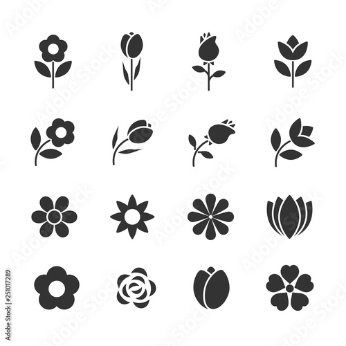 Canvas Print Vector set of flowers icons.
