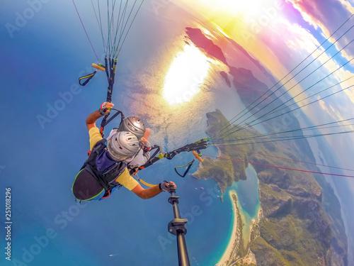 Paragliding in the sky. Par...