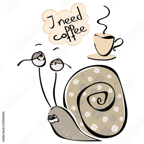 Photo Tired and sleepy snail dreaming of a mug of refreshing hot coffee with a quote '