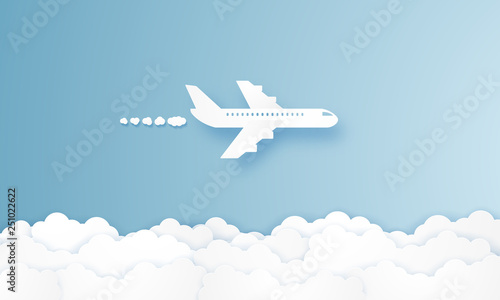 Airplane flying in the sky , paper art style - 251022622