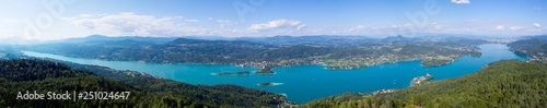 Photo Stands Caribbean lake wörthersee, view from pyramidenkogel, carinthia austria