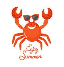 Crab In Glasses, Enjoy Summer,...