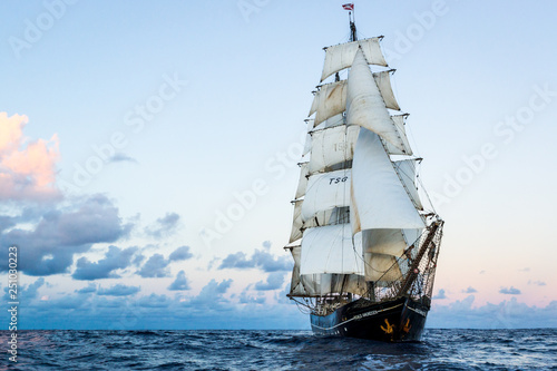 Fényképezés German brig roald amundsen sailing on the atlantic at sunset