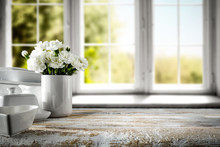White Wooden Desk And Window Of Spring Time.
