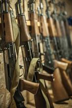 Storage Of Kalashnikov Ak47 Riffle Machine Gun. Weapon Firearm Arsenal