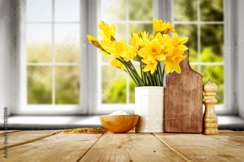 Desk of free space and spring window background