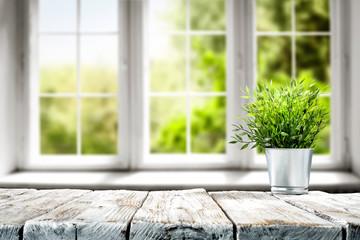 Fototapeta Przyprawy Desk of free space and spring window background
