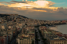 Big View Over The Naples With Clouds