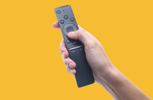 Hand Holds Tv Remote Isolated ...