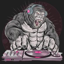 GORILLA DJ MUSIC PARTY DETAL VECTOR