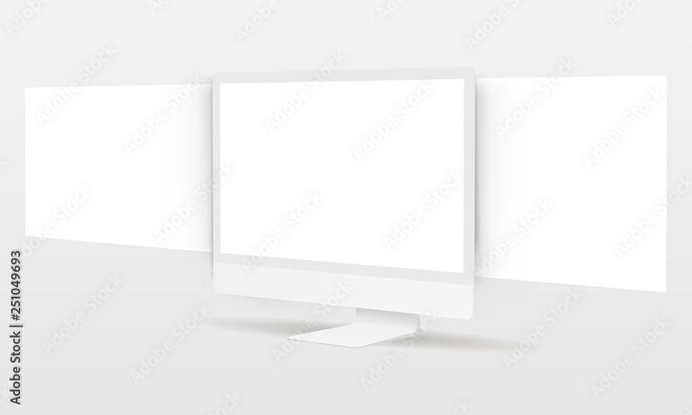 Fototapety, obrazy: PC monitor with blank framework web pages. Mockup for responsive web-design or showing screenshots. Vector illustration