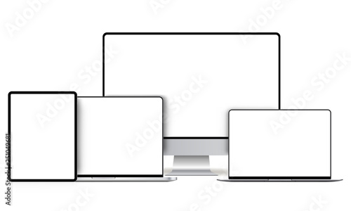 Fotografia  Modern devices mockups with blank frameless screens: computer monitor, laptop, tablet