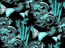 Pattern Of Asian Dragon And Flowers. Vector Illustration. Suitable For Fabric, Wrapping Paper And The Like