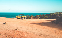 Beautiful Landscape Buggy On Top Of A Cliff. Buggy On Seashore