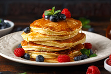 Homemade American Pancakes Wit...