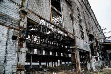 Abandoned industrial building. Ruins of an old factory
