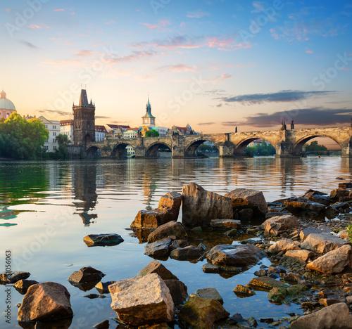 Stones on Vltava river Fototapete