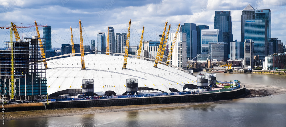 Fototapety, obrazy: The O2 Arena in London from across the River Thames. London, UK .