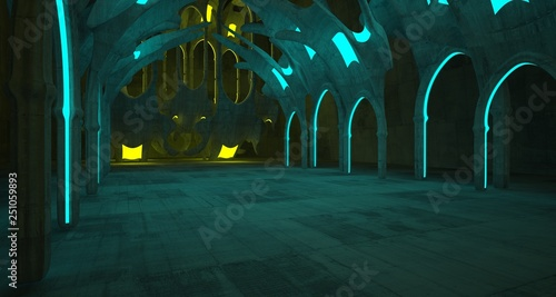 Fototapeta Abstract  Concrete Futuristic Sci-Fi Gothic interior With Yellow And Blue Glowing Neon Tubes . 3D illustration and rendering. obraz