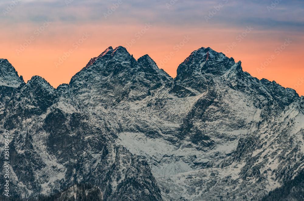 Fototapety, obrazy: Tatra mountains landscape, winter sunrise over Rysy and Wysoka