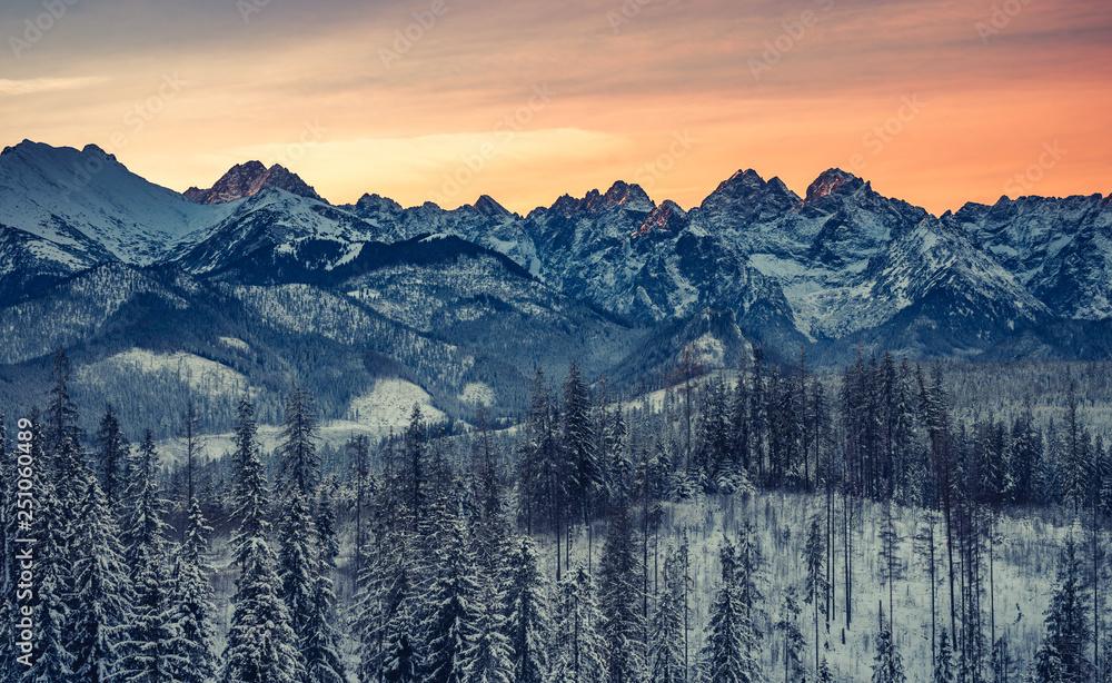 Fototapety, obrazy: Colorful winter sunrise , Tatra mountains landscape