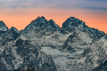 Fototapeta Popularne Tatra mountains landscape, winter sunrise over Rysy and Wysoka