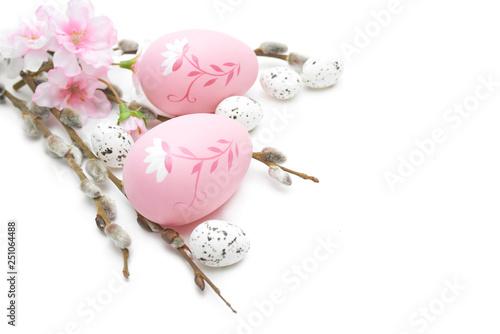 Fototapeta Wielkanoc jajka i ozdoby na białym tle obraz na płótnie