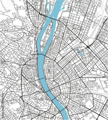 Fotomural Black and white vector city map of Budapest with well organized separated layers