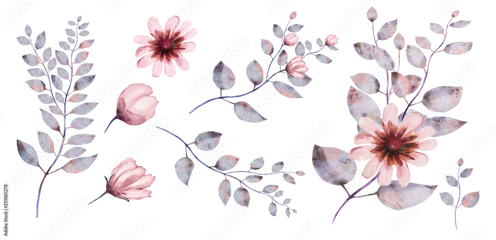 Watercolor, flower set: pink flower, gray leaves, other elements.