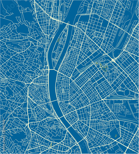 Obraz na plátně Blue and White vector city map of Budapest with well organized separated layers