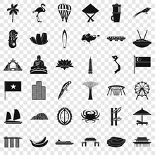 Asian Country Icons Set. Simpl...