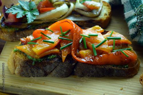 Bruschetta ai peperoni ft9102_0762 Cucina italiana Italienische Küche Gastronomí Tablou Canvas