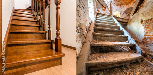 Comparison of modern brown wooden oak staircase with carved railing in new renovated apartment interior and old ladder stairs. Before renovation and after house reconstruction collage.
