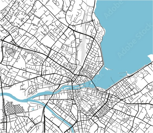 Leinwand Poster Black and white vector city map of Geneva with well organized separated layers