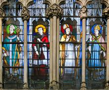 Catholic Saints - Stained Glass In Saint Severin Church, Paris