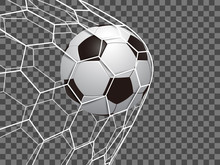 Soccer Ball In Net On A Transparent Background – Stock Vector