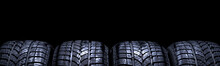 Car Tires Isolated Panorama On...