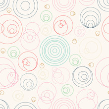 Abstract Seamless Pattern With Randomly Circles Of Thin Lines. Abstract Background With Little Circles. Vector Illustration.
