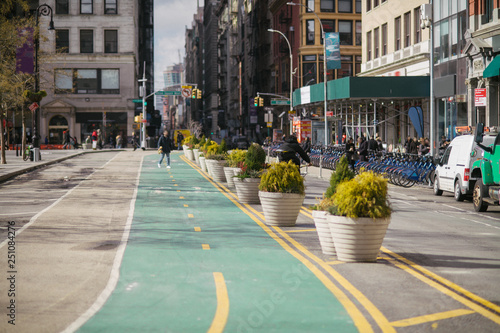 New York City Manhattan Union Square street with bicycle lanes at daytime Wallpaper Mural